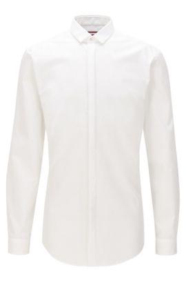 Extra-Slim-Fit-Hemd aus Baumwolle mit verdeckter Knopfleiste, Weiß
