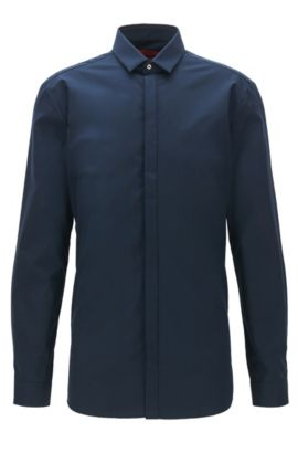 Chemise Extra Slim Fit en coton à patte de boutonnage dissimulée, Bleu foncé