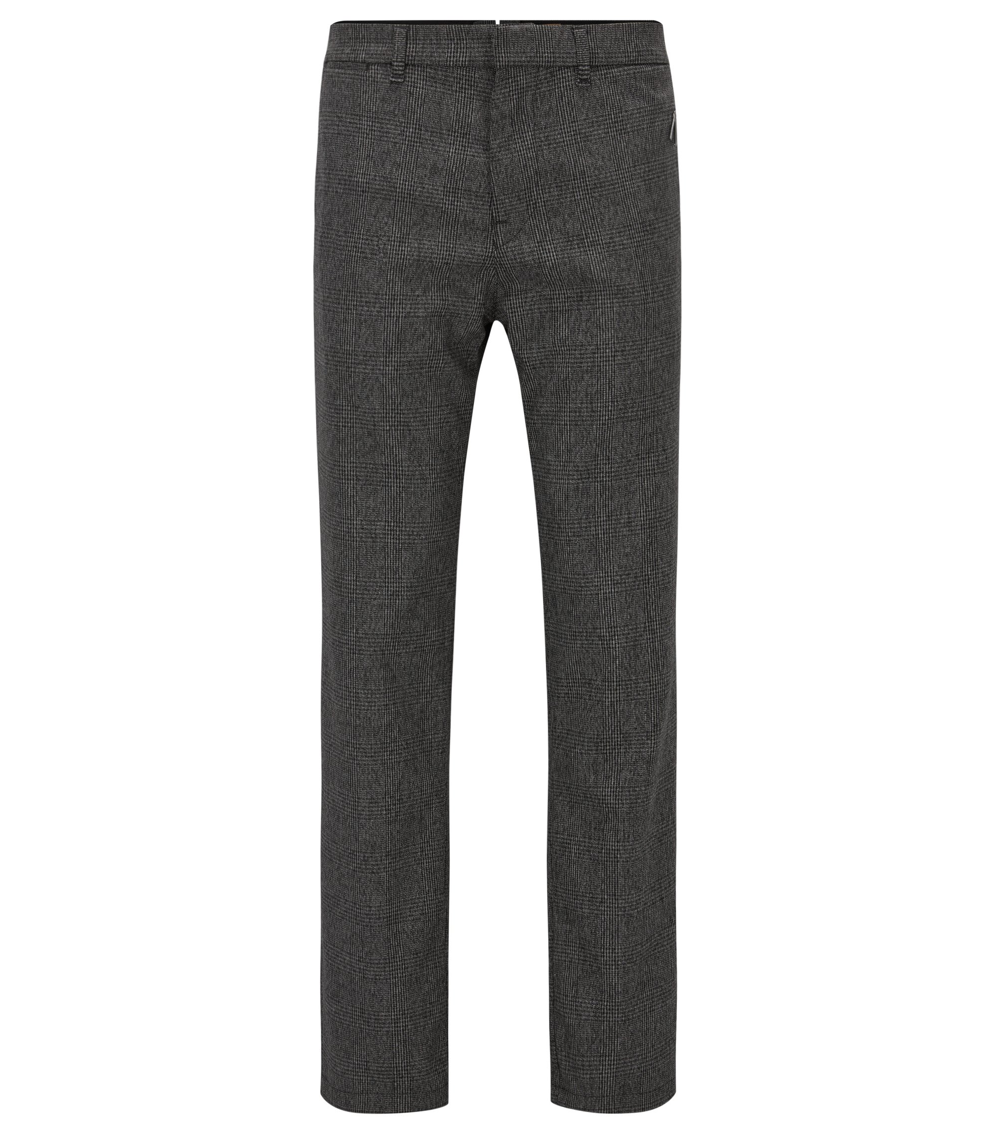 Regular-Fit Hose aus elastischem Material-Mix mit Glencheck-Karo, Dunkelgrau