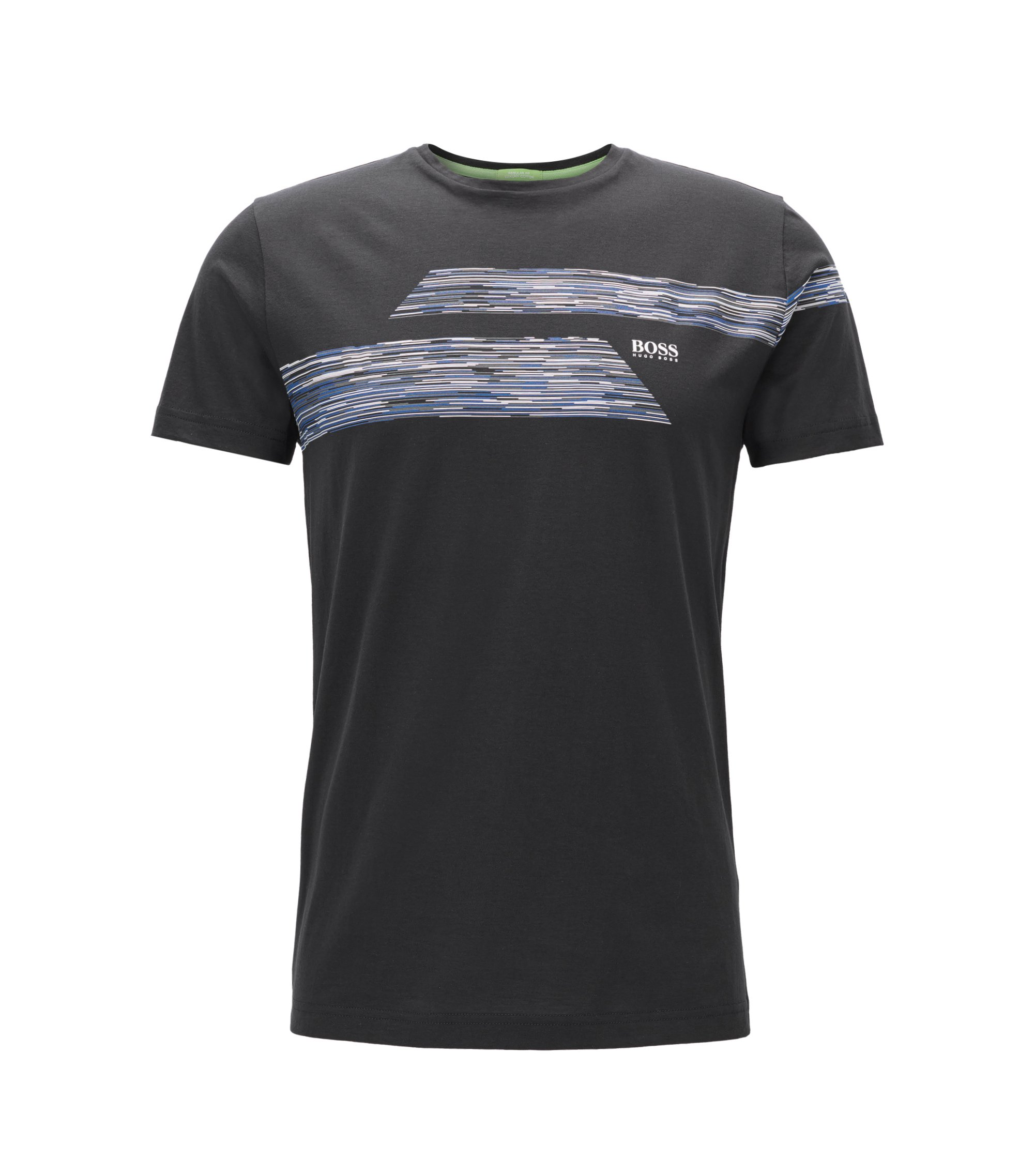 Regular Fit T-Shirt aus Single Jersey, Schwarz