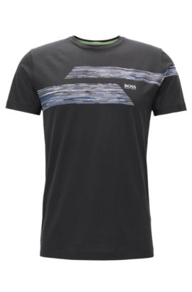 Regular Fit T-Shirt aus Single Jersey, Schwarz