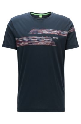 Regular Fit T-Shirt aus Single Jersey, Dunkelblau