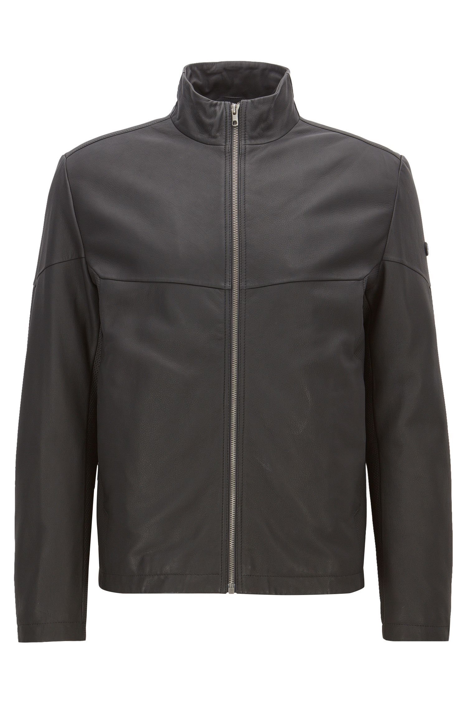 Blouson en cuir Regular Fit, avec garnissage PrimaLoft®
