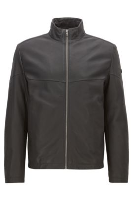 Regular-fit leather jacket with PrimaLoft® padding, Black