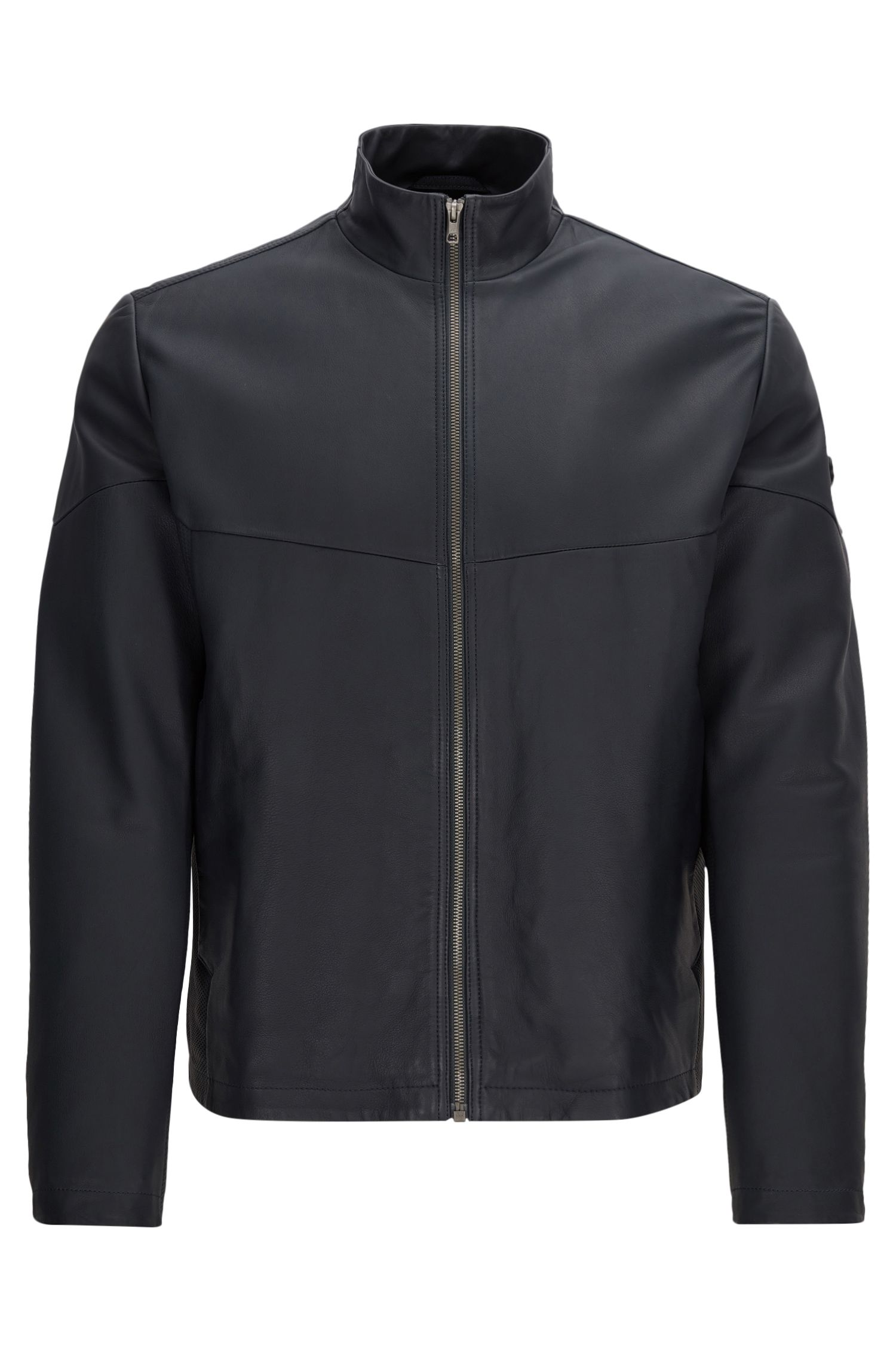 Regular-fit leather jacket with PrimaLoft® padding