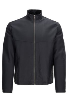 Regular-fit leather jacket with PrimaLoft® padding, Dark Blue