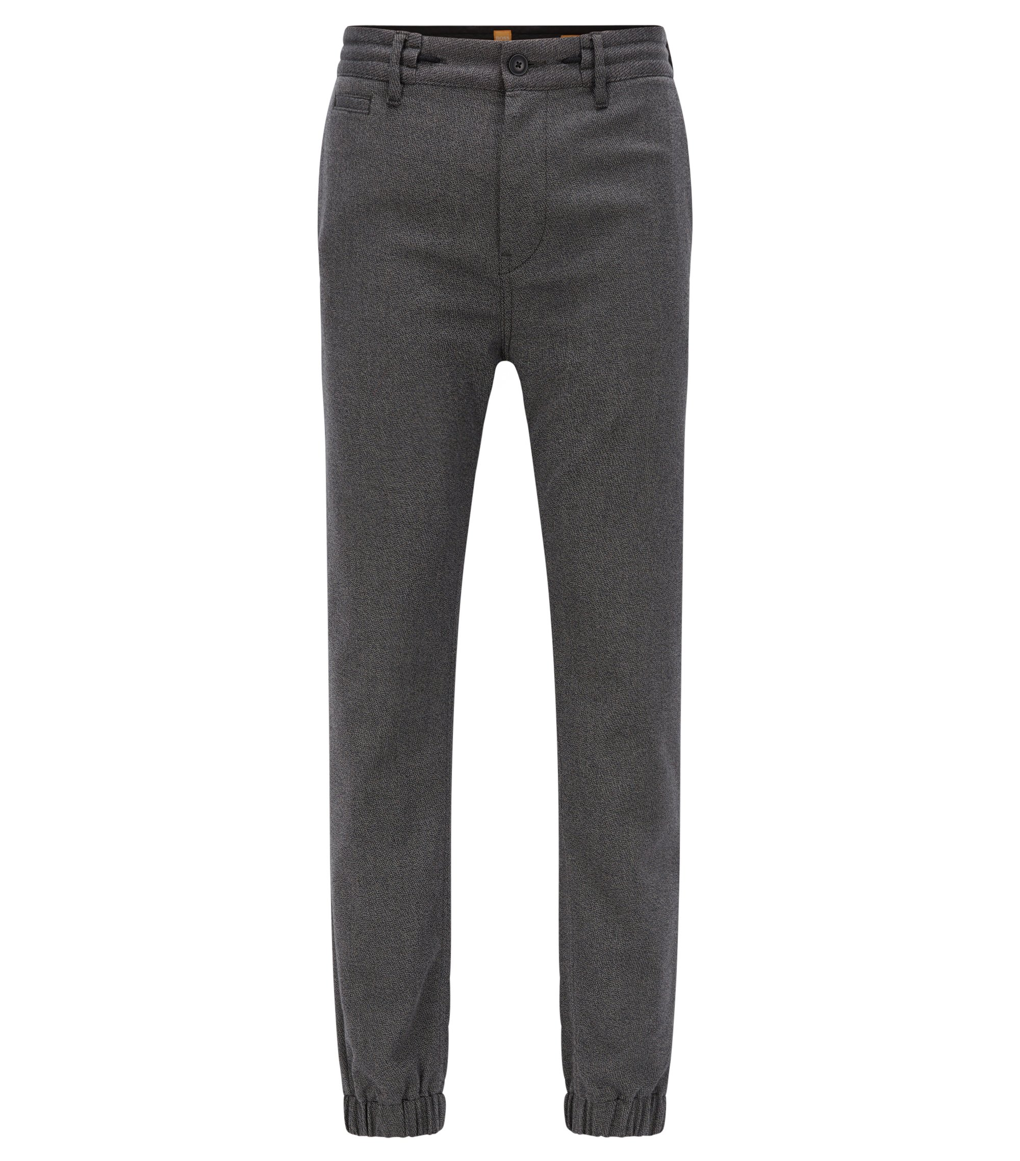 Tapered-fit trousers in stretch twill, Black