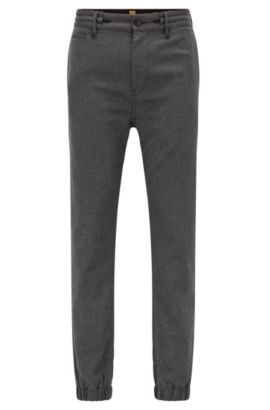 Pantalon Tapered Fit en twill stretch, Noir