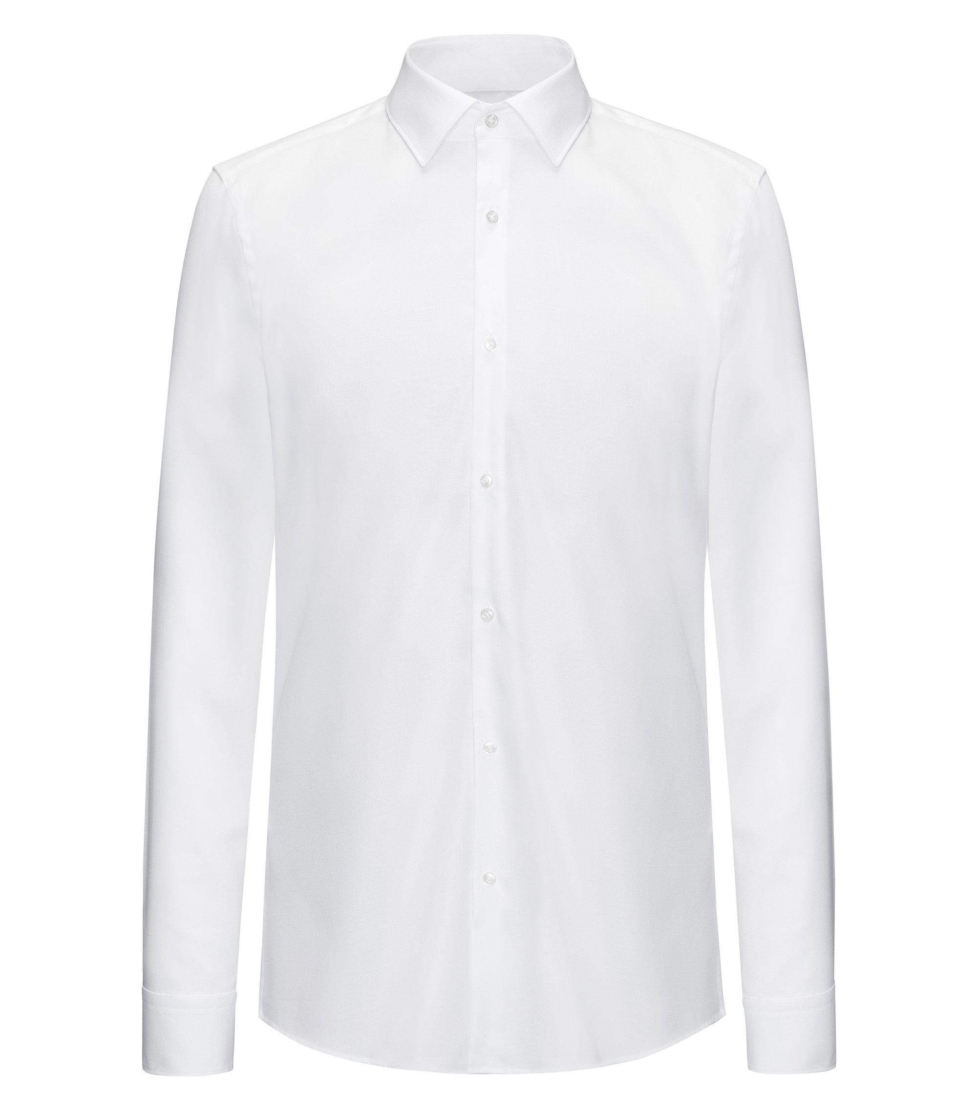 Slim-fit shirt in soft cotton, White