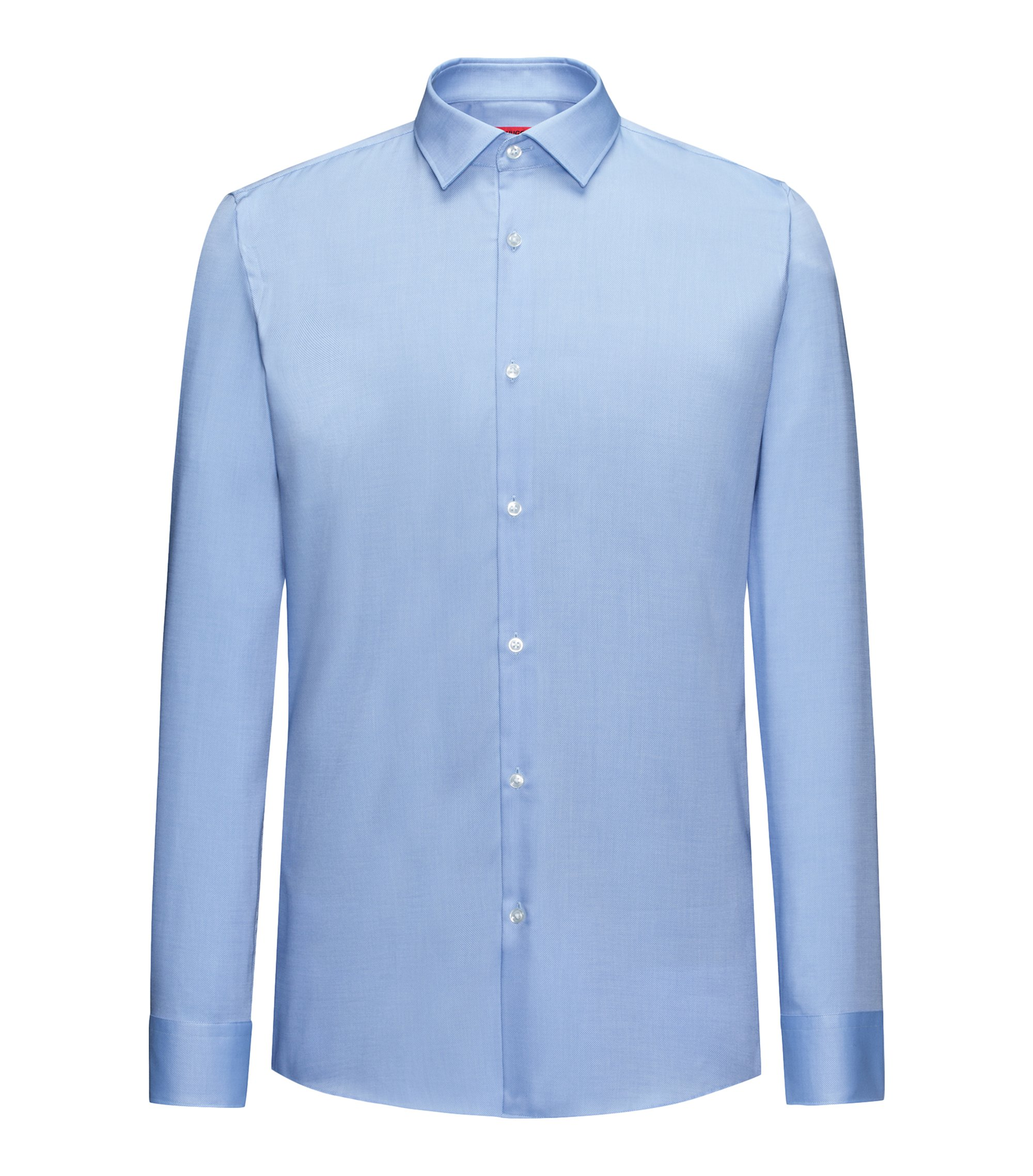 Slim-fit shirt in soft cotton, Light Blue