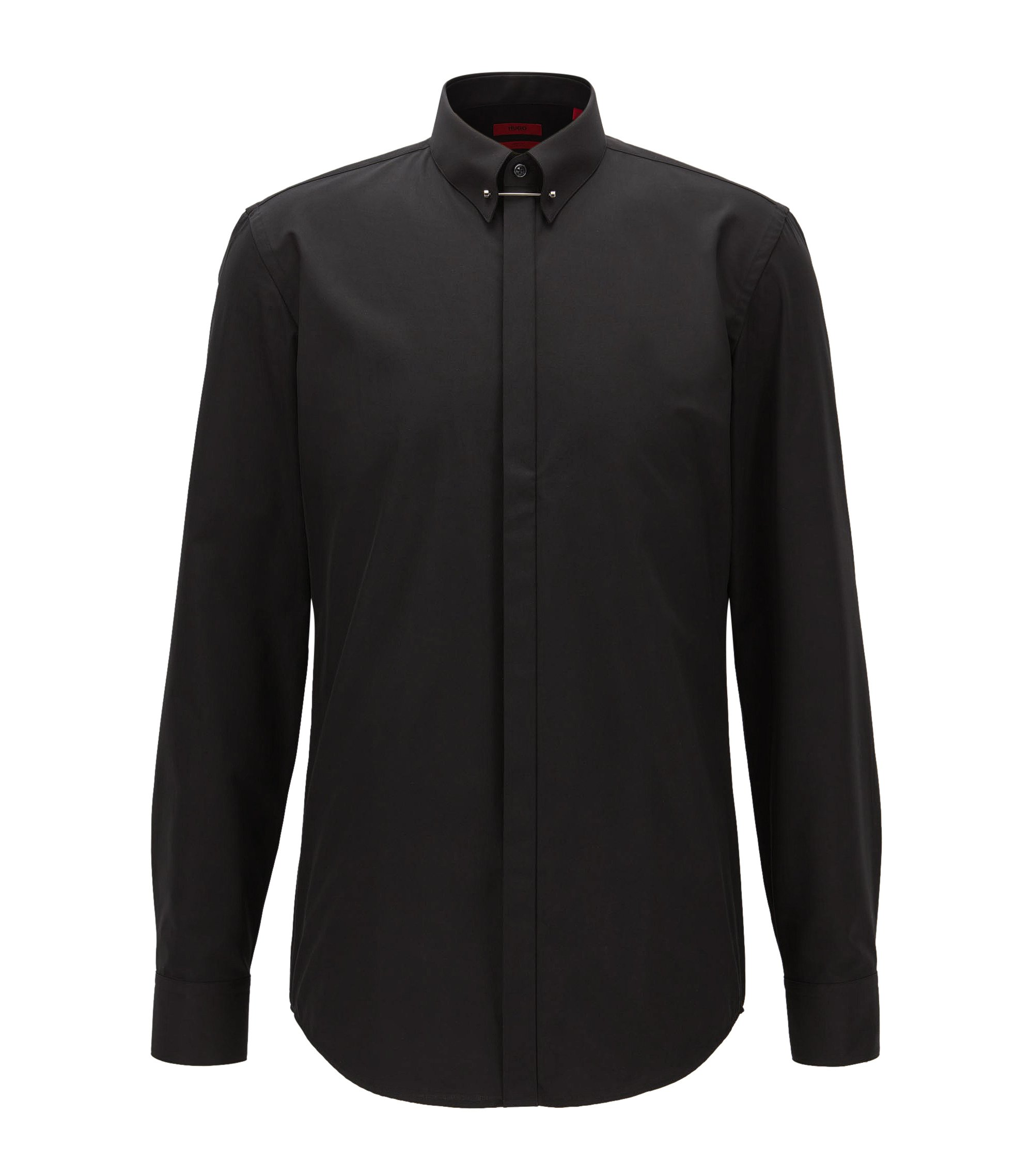 Camicia slim fit in cotone con colletto Piccadilly, Nero