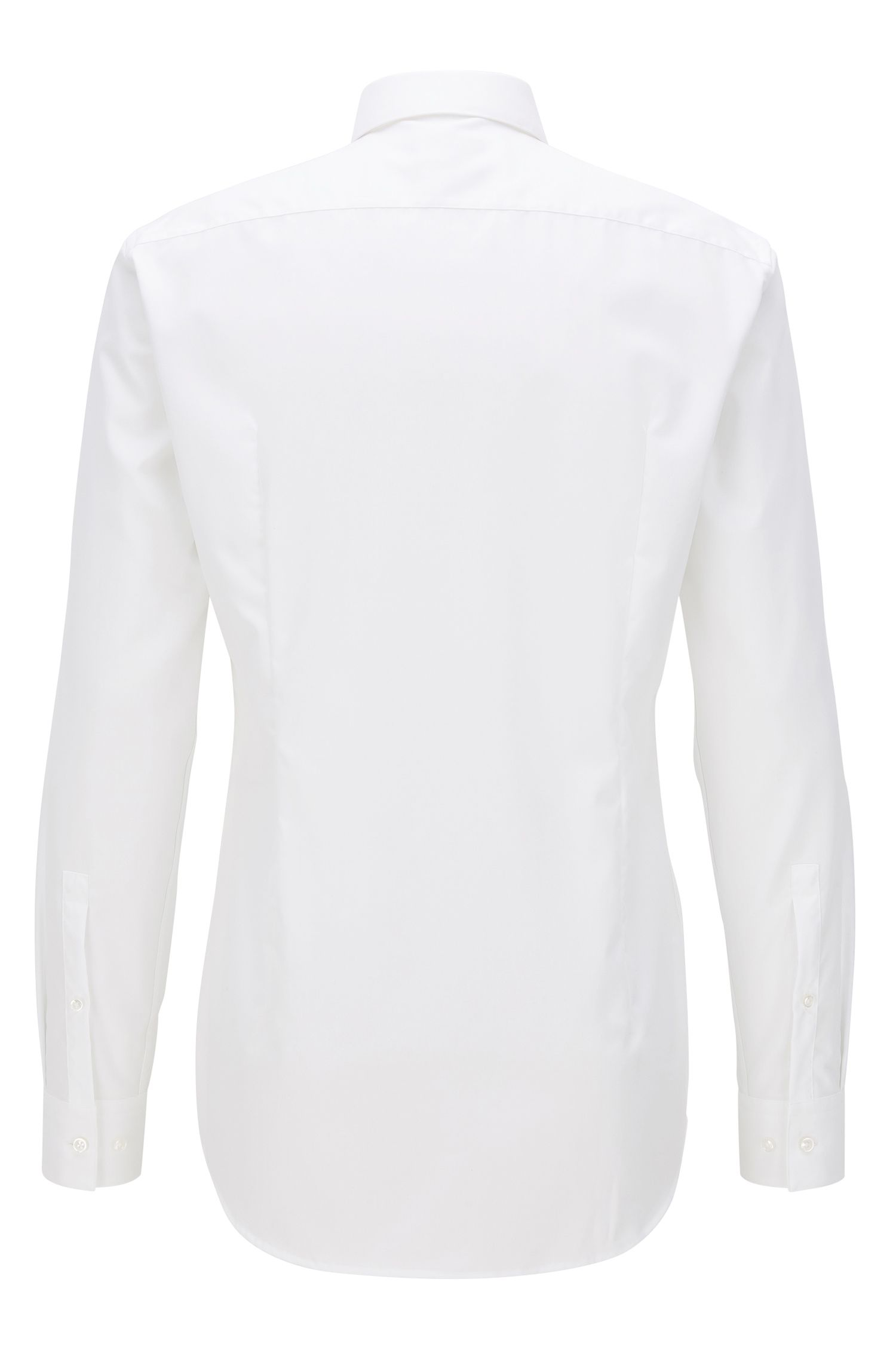 Camisa slim fit en algodón con cuello Piccadilly, Blanco