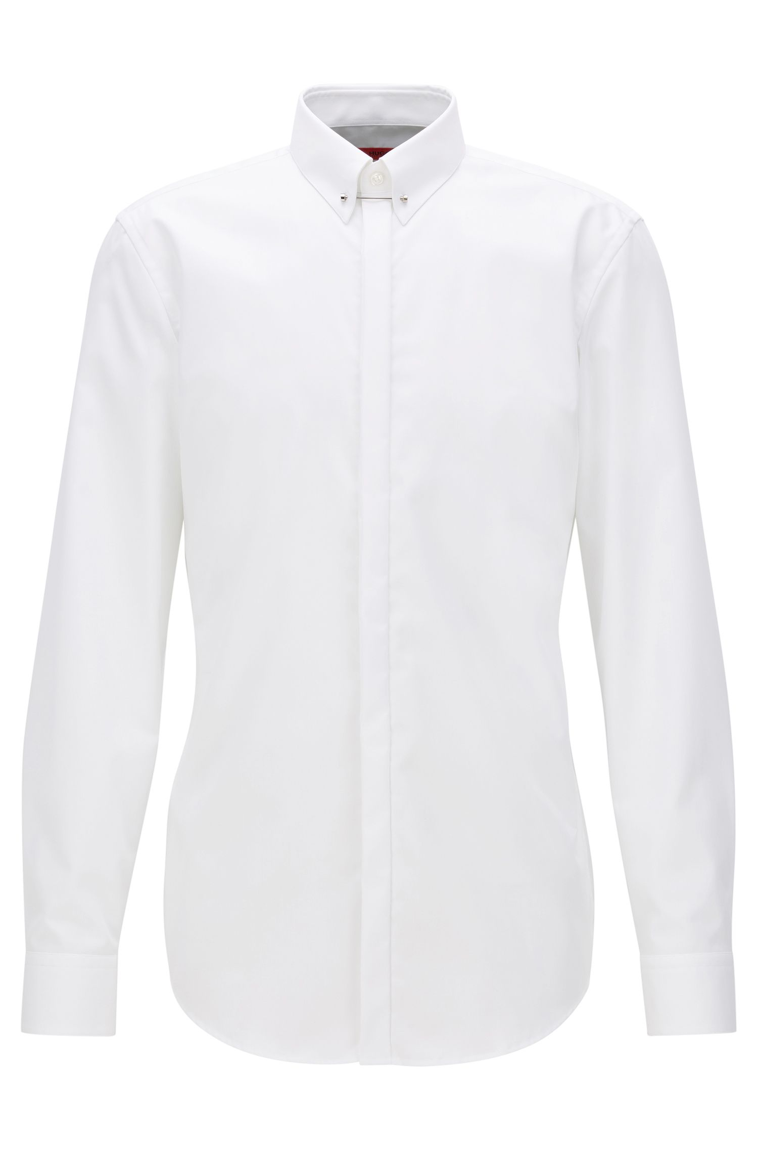 Slim-fit cotton shirt with Piccadilly collar, White