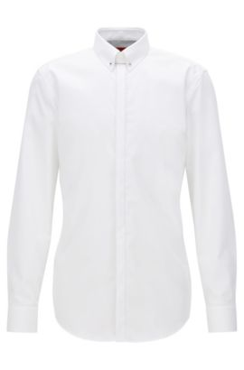 Slim-fit cotton shirt with Piccadilly collar, Weiß