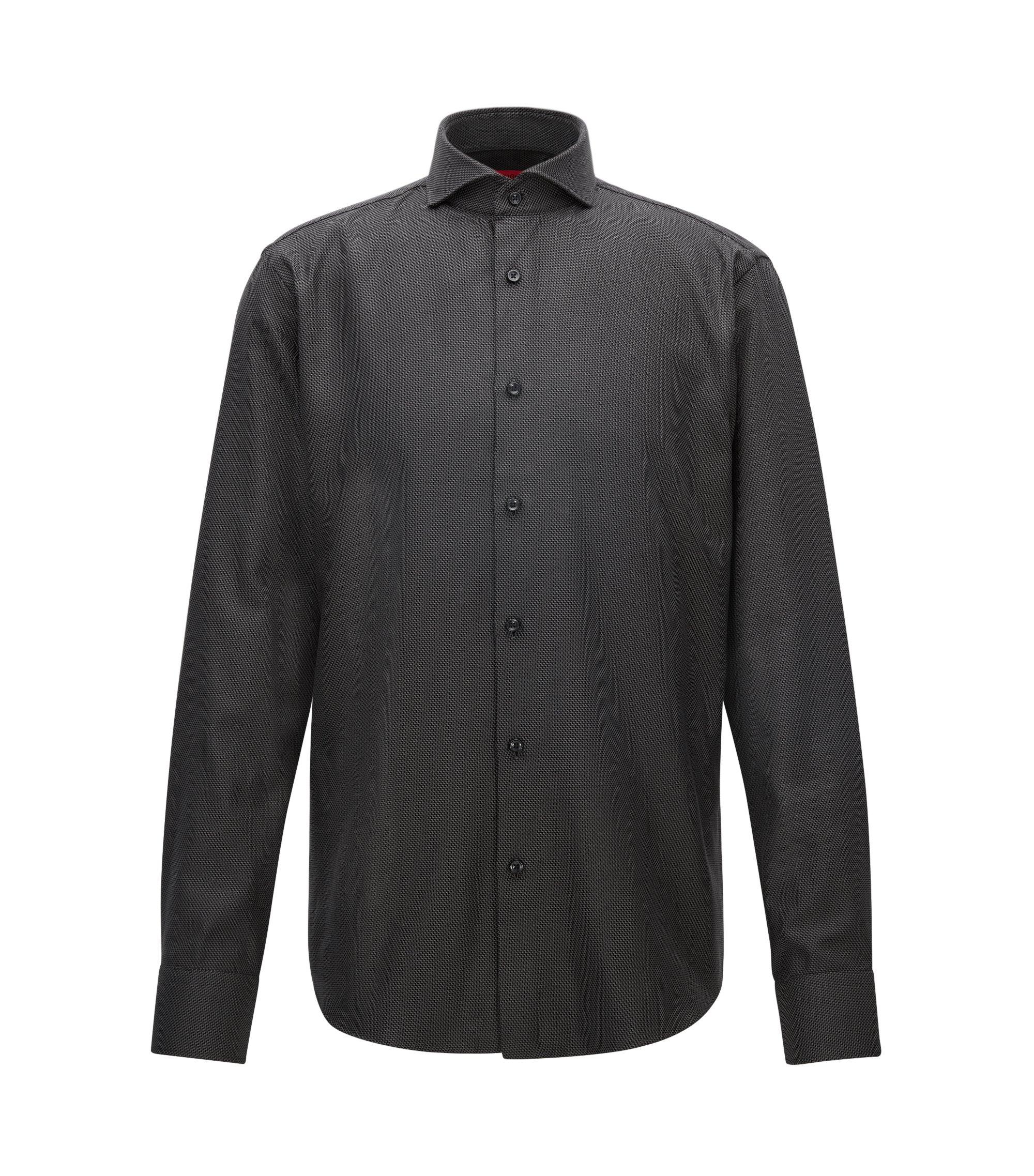 Regular-fit overhemd van gestructureerde katoen met dessin, Zwart