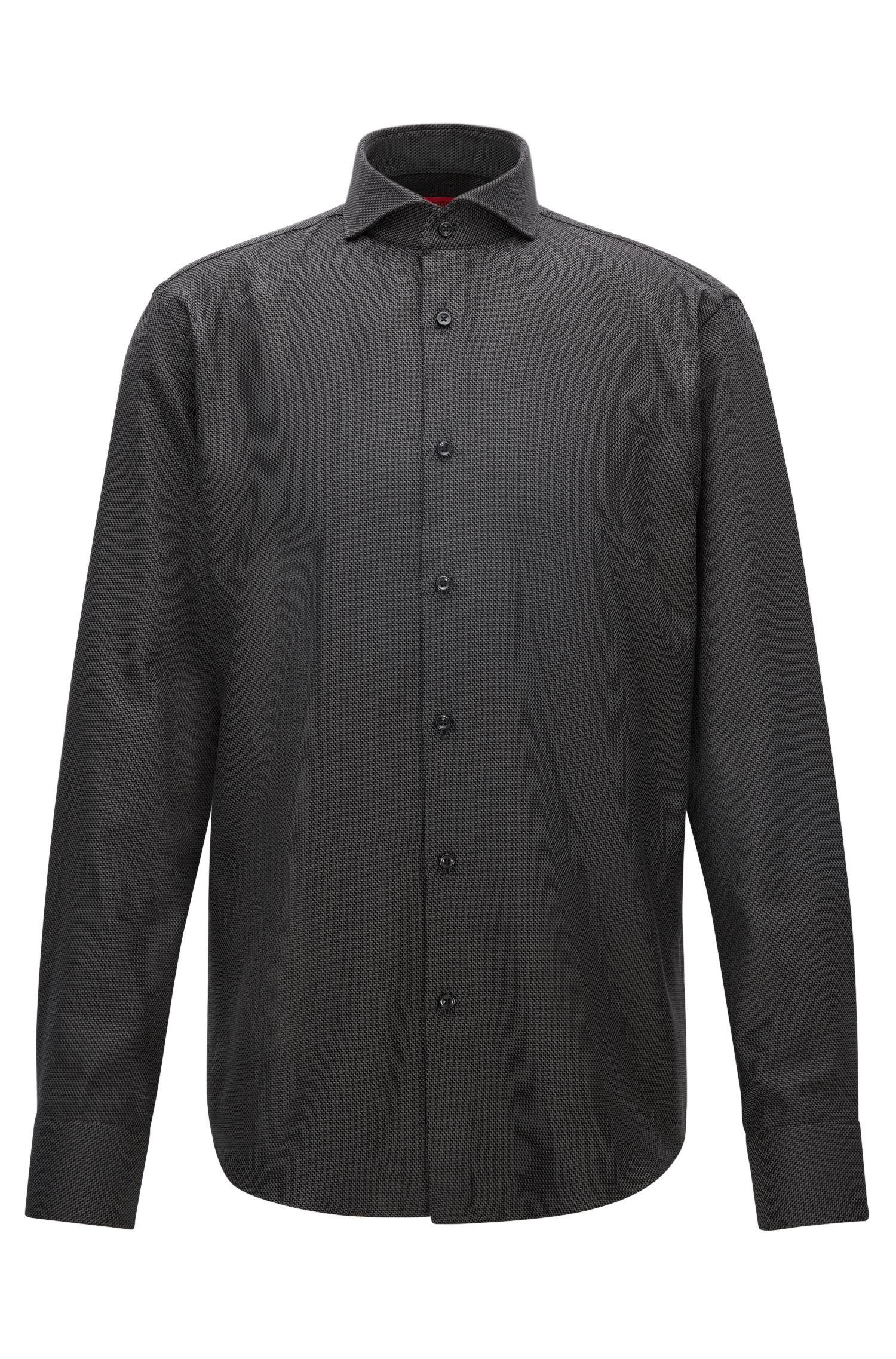 Regular-fit overhemd van gestructureerde katoen met dessin