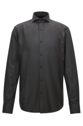Regular-fit shirt in structured patterned cotton, Black