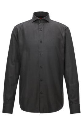 Gemustertes Regular-Fit Hemd aus strukturierter Baumwolle, Schwarz