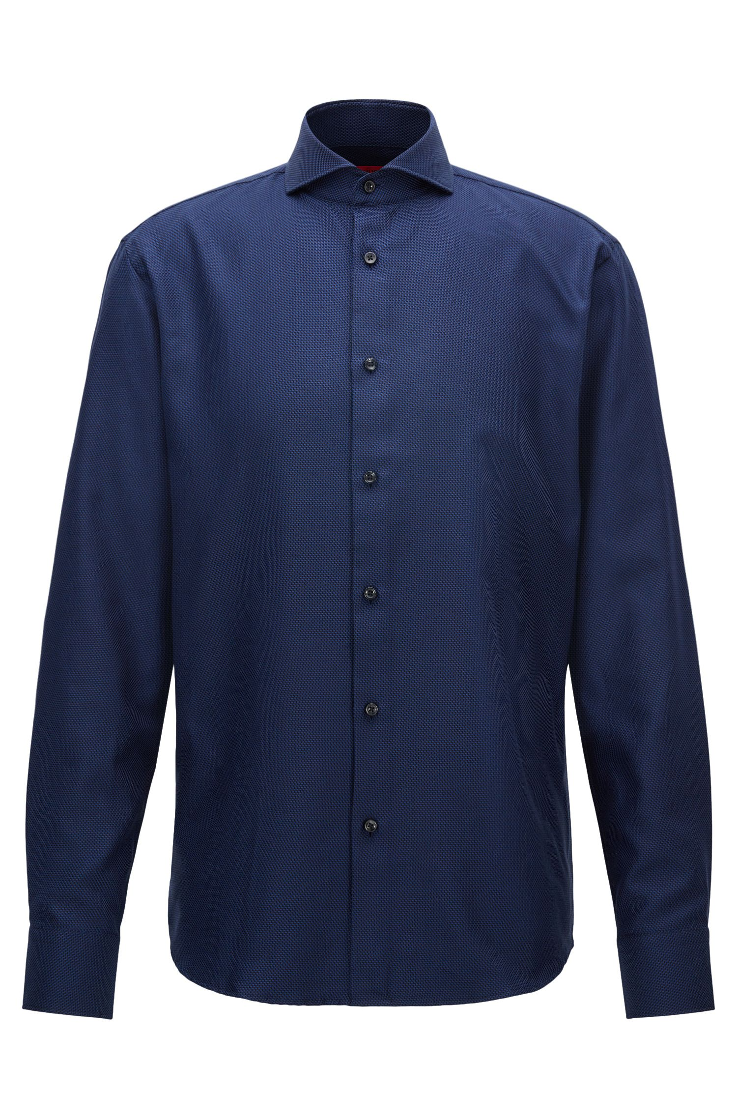 Regular-fit shirt in structured patterned cotton