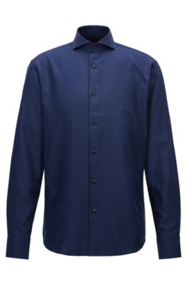 Regular-fit shirt in structured patterned cotton, Dark Blue