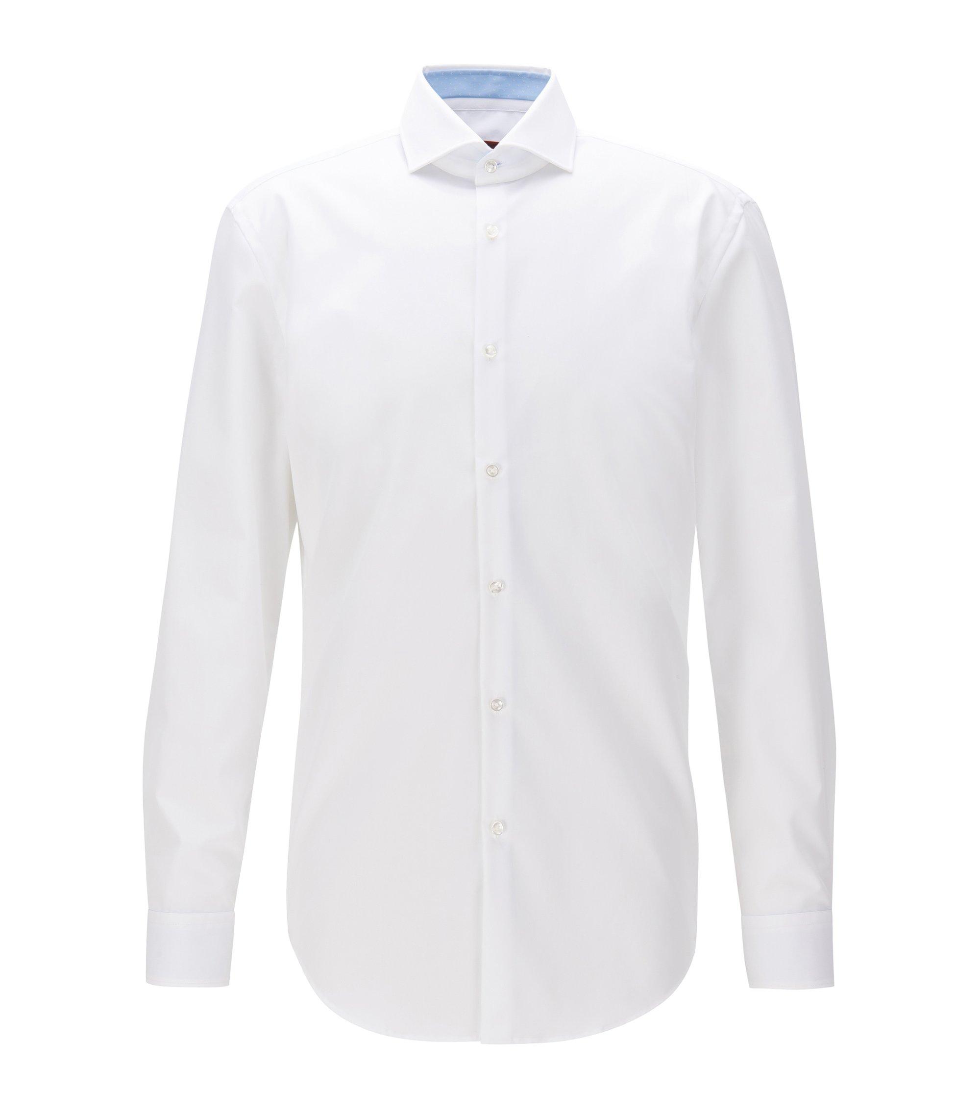 Slim-fit overhemd van katoenpopeline, Wit