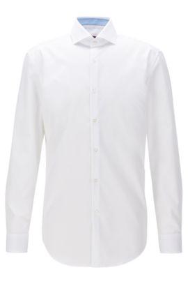 Chemise Slim Fit en popeline de coton, Blanc
