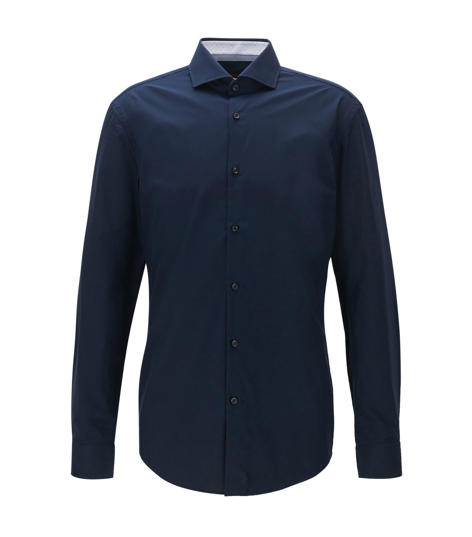 Slim-Fit Hemd aus Baumwoll-Popeline, Dunkelblau