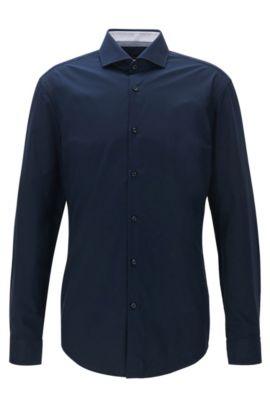 Camisa slim fit en popelín de algodón, Azul oscuro