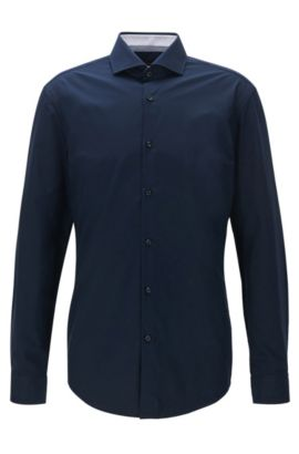 Camicia slim fit in popeline di cotone, Blu scuro
