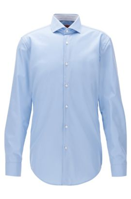 Camisa slim fit en popelín de algodón, Celeste