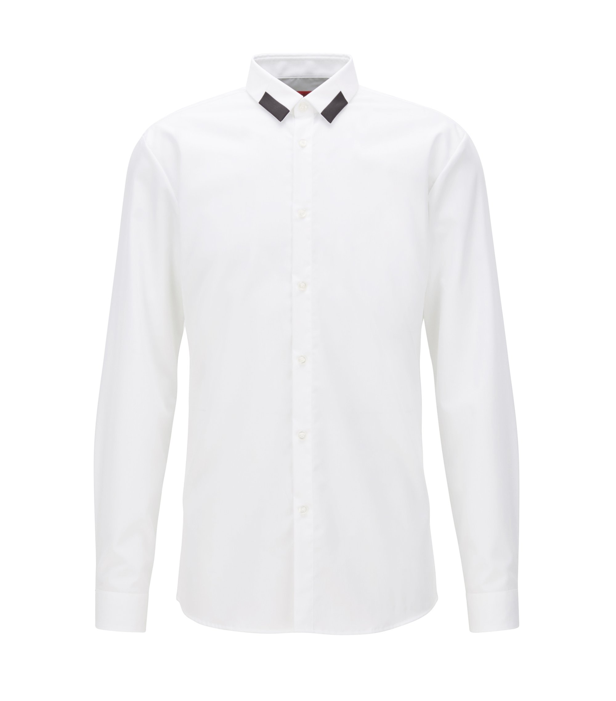 Extra-slim-fit cotton shirt with contrast point collar, White
