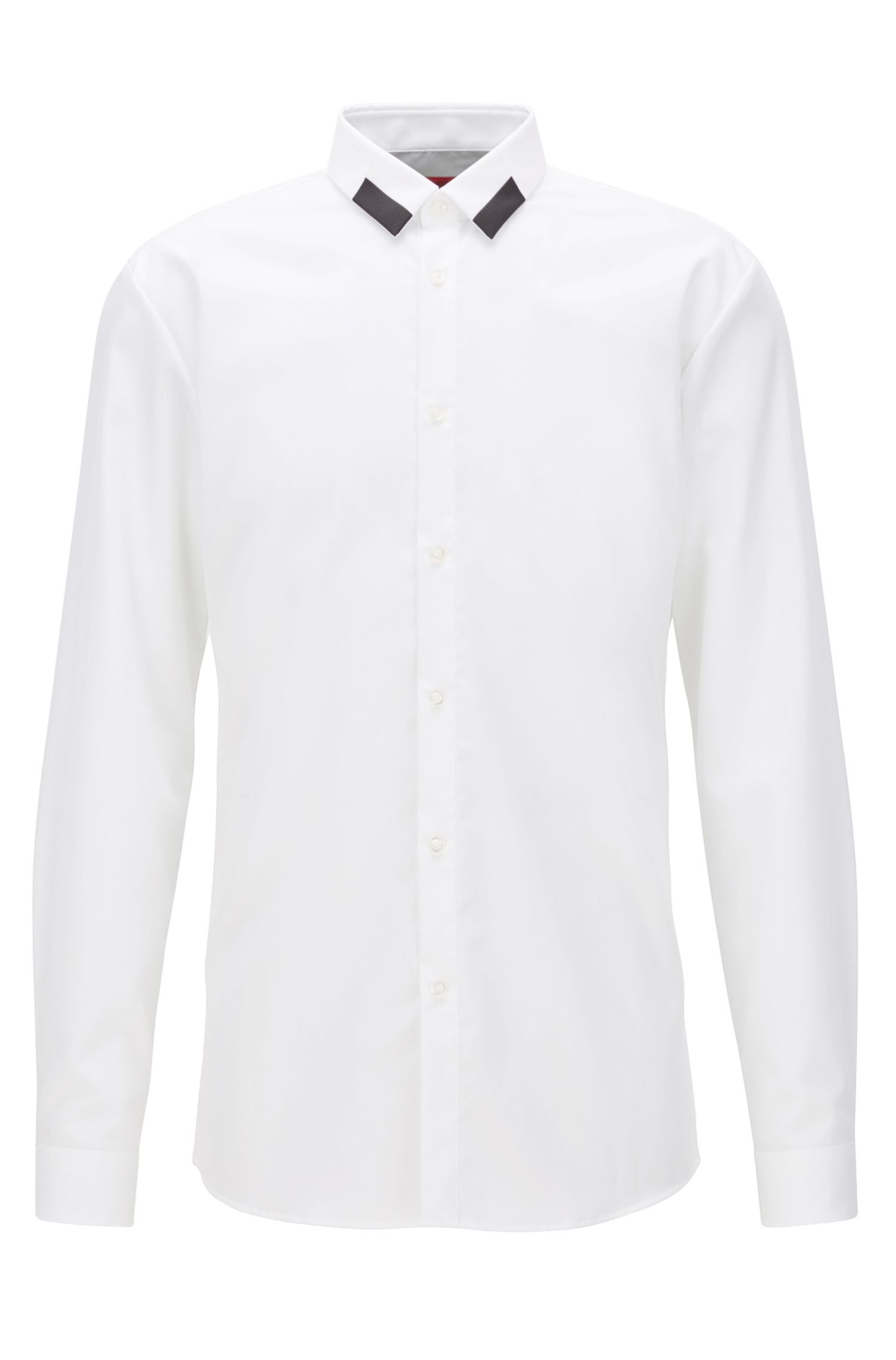 Extra-slim-fit cotton shirt with contrast point collar