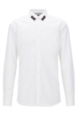 Extra-slim-fit cotton shirt with contrast point collar, Open White