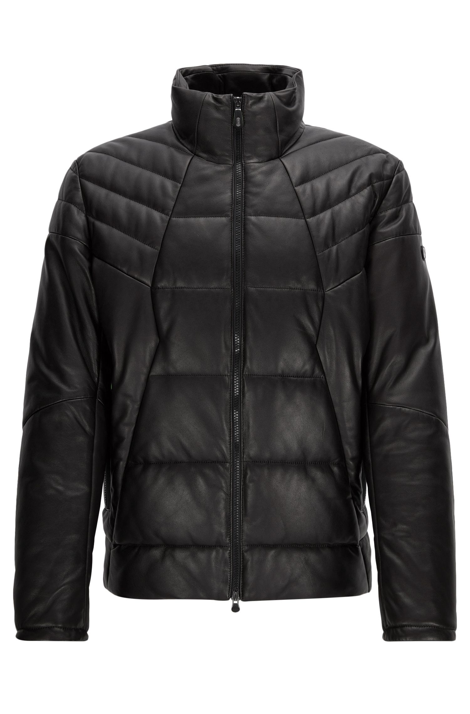 Regular-fit padded leather jacket