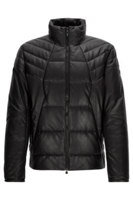 Regular-Fit Steppjacke aus Leder, Schwarz