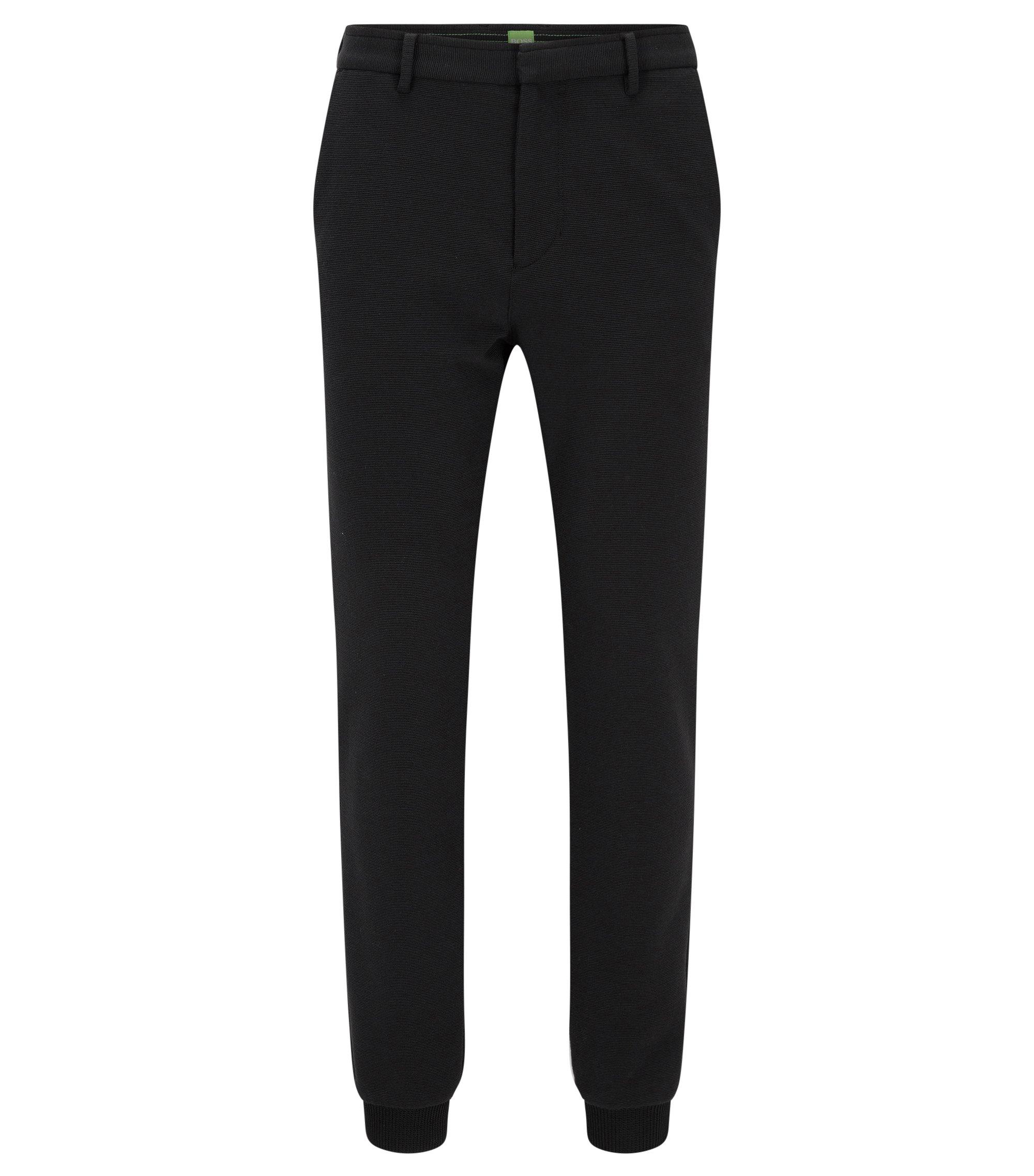 Slim-Fit-Hose aus italienischem Jersey, Schwarz