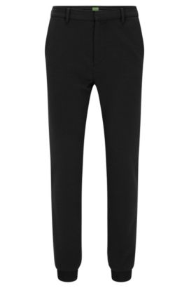 Slim-fit trousers in structured Italian jersey, Black