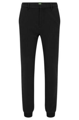 Pantaloni slim fit in jersey italiano lavorato, Nero