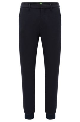 Slim-fit trousers in structured Italian jersey, Dark Blue