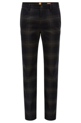 Tapered-fit trousers in woven checked fabric, Dark Blue