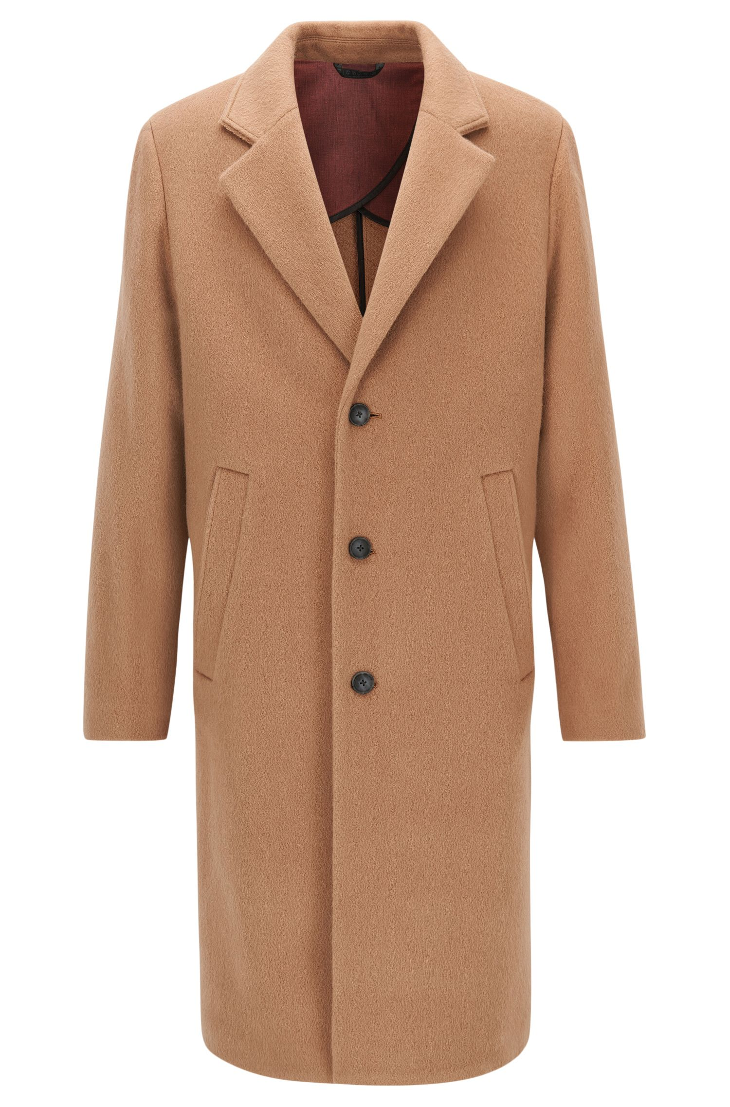 Long-length wool-blend overcoat in a regular fit
