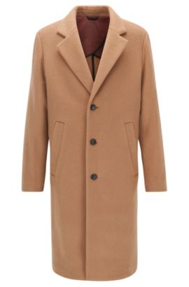 Long-length wool-blend overcoat in a regular fit, Beige