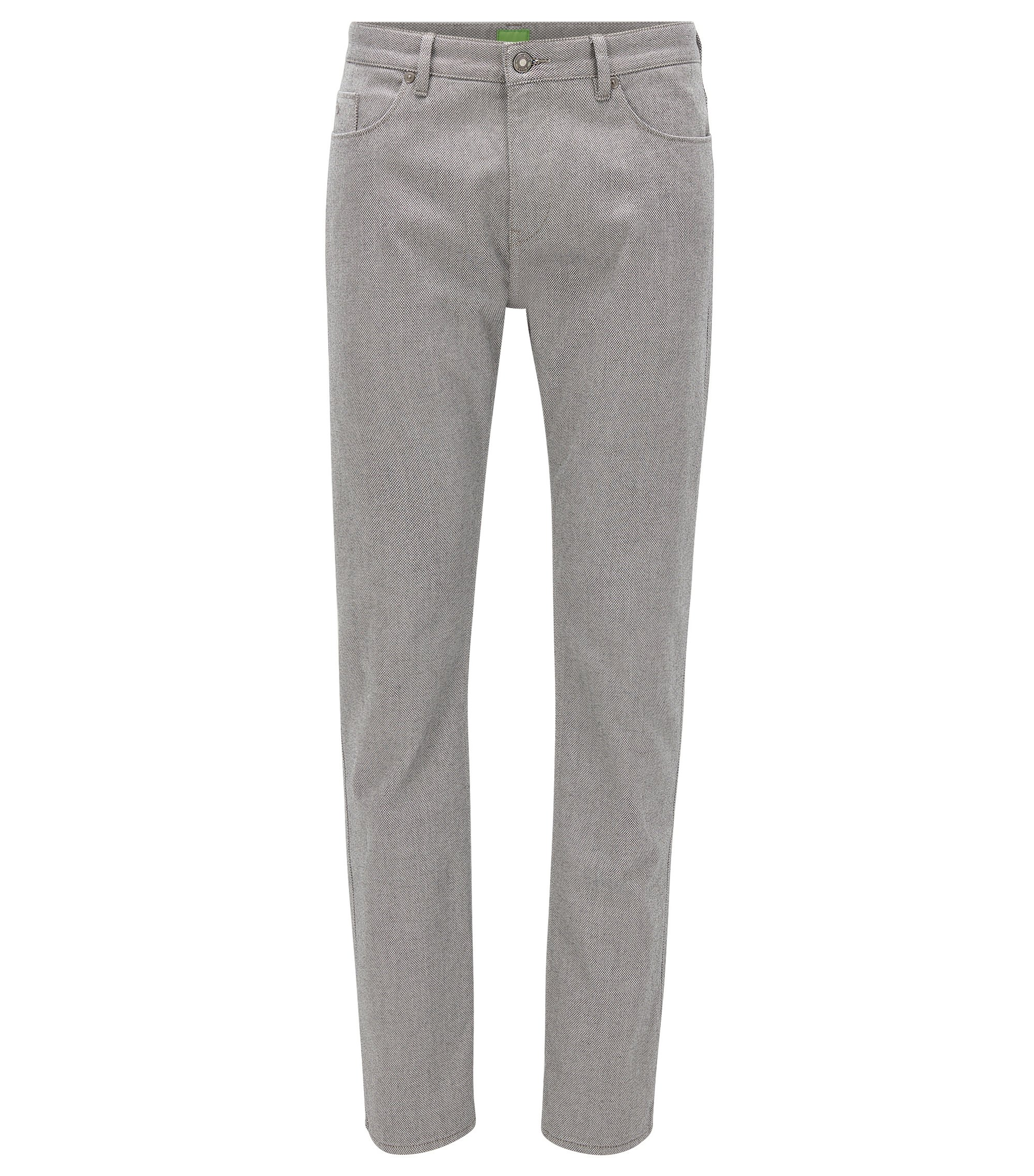 Slim-Fit Hose aus zweiseitiger Stretch-Baumwolle mit Birdseye-Muster, Grau