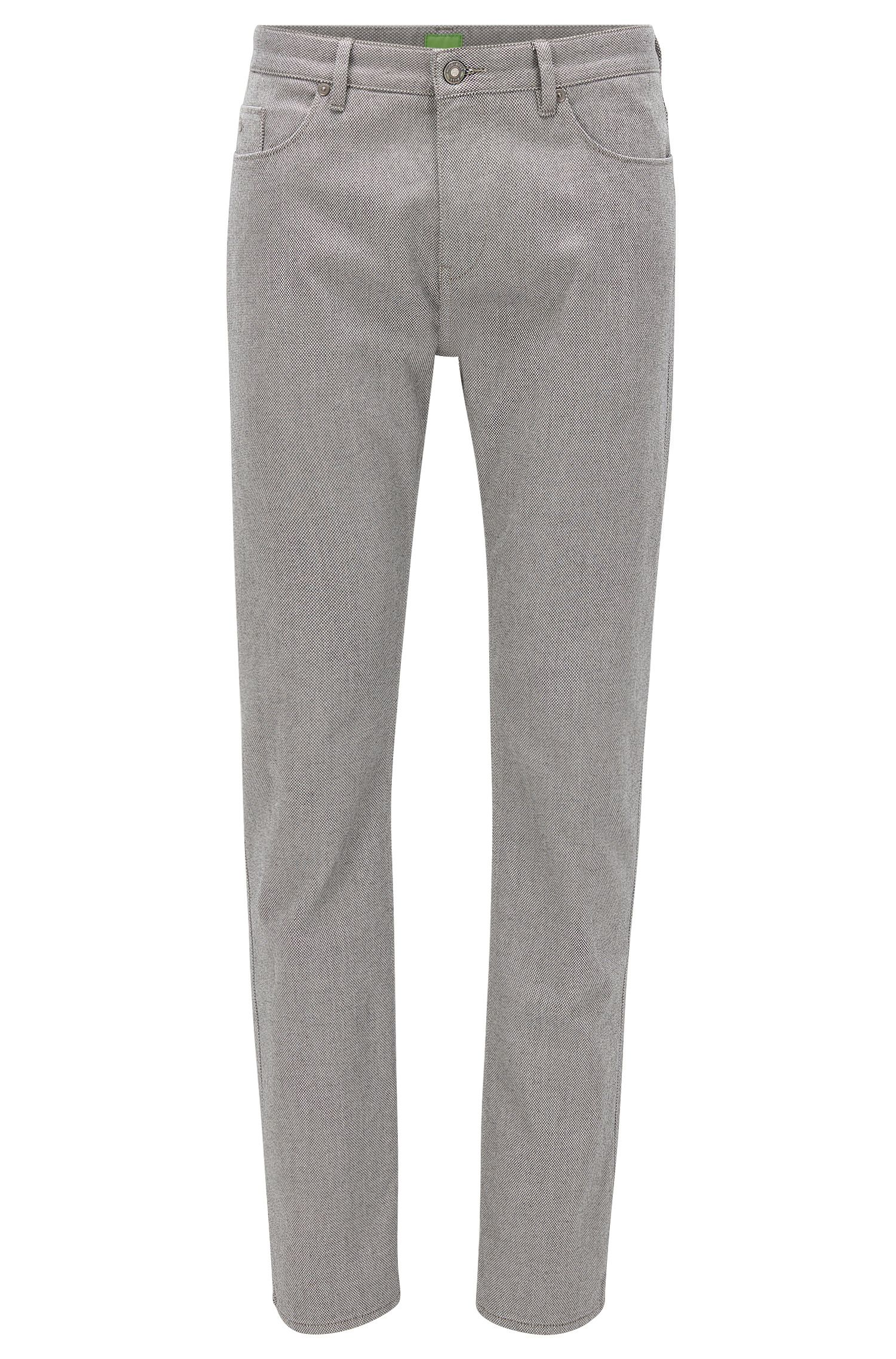 Pantaloni slim fit in cotone double-face a occhio di pernice