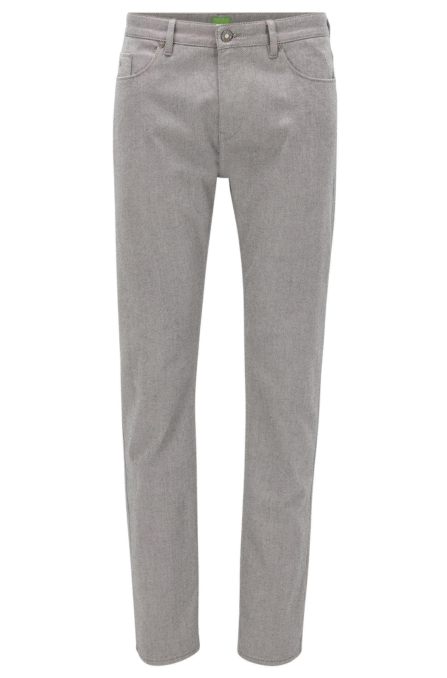 Slim-Fit-Hose aus zweiseitiger Stretch-Baumwolle mit Birdseye-Muster