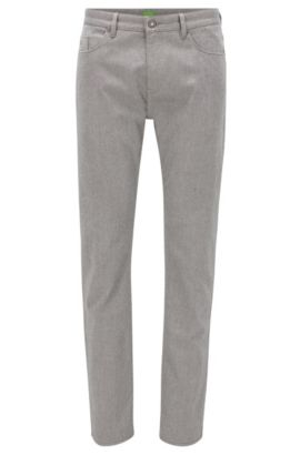 Pantalon Slim Fit en coton œil-de-perdrix double face, Gris