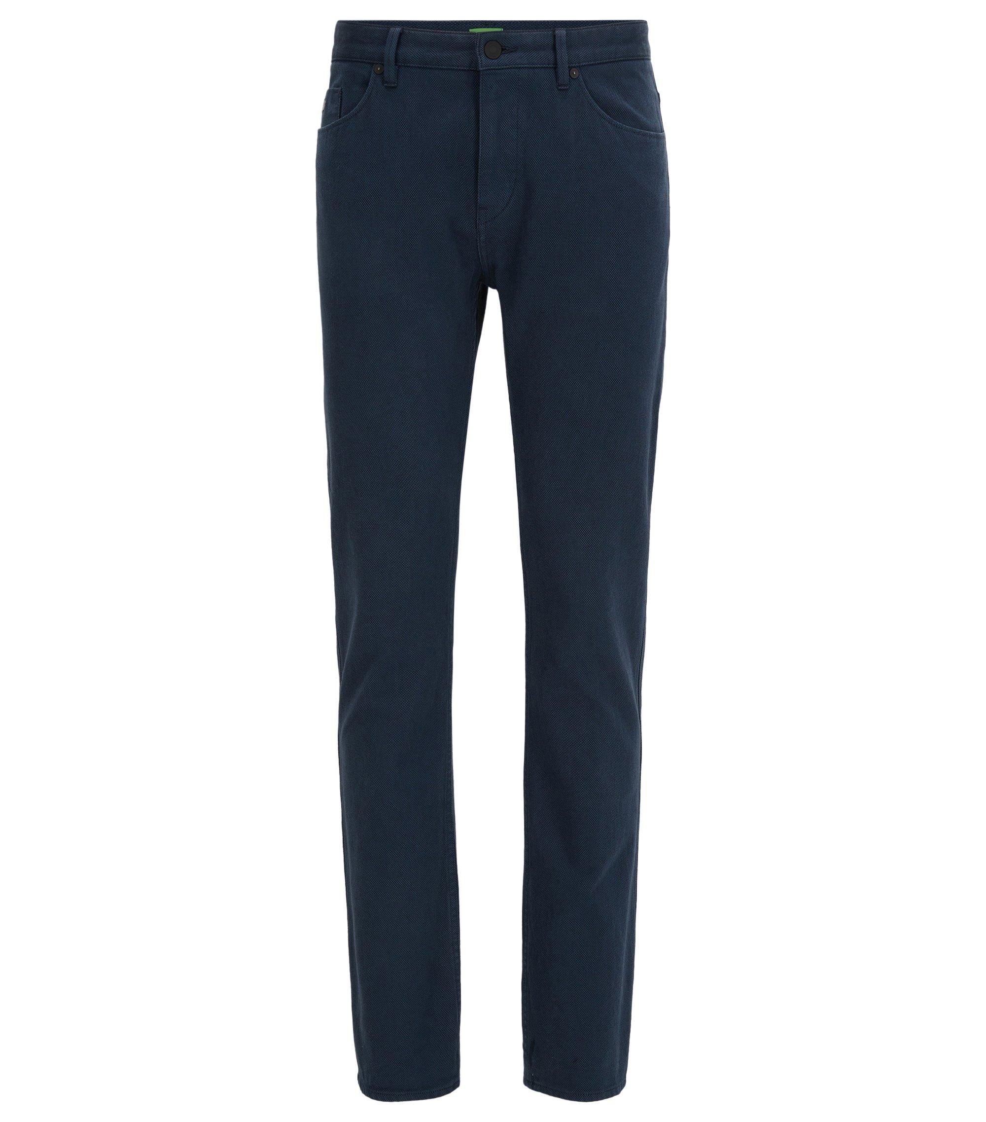 Slim-Fit Hose aus zweiseitiger Stretch-Baumwolle mit Birdseye-Muster, Dunkelblau