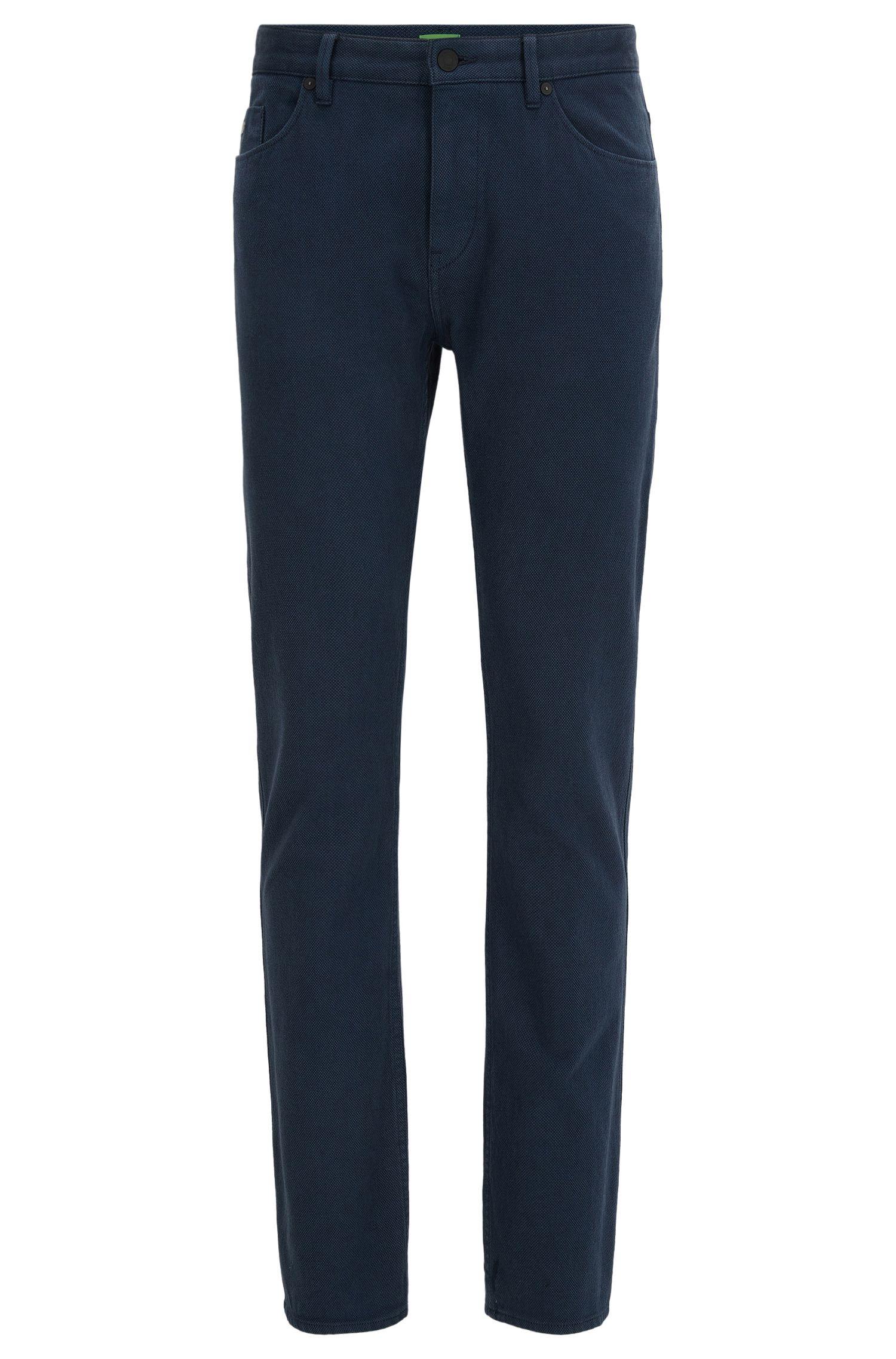 Pantaloni slim fit in cotone double-face a occhio di pernice