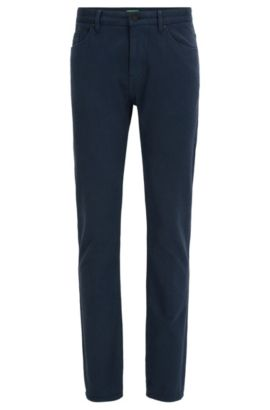 Pantaloni slim fit in cotone double-face a occhio di pernice, Blu scuro