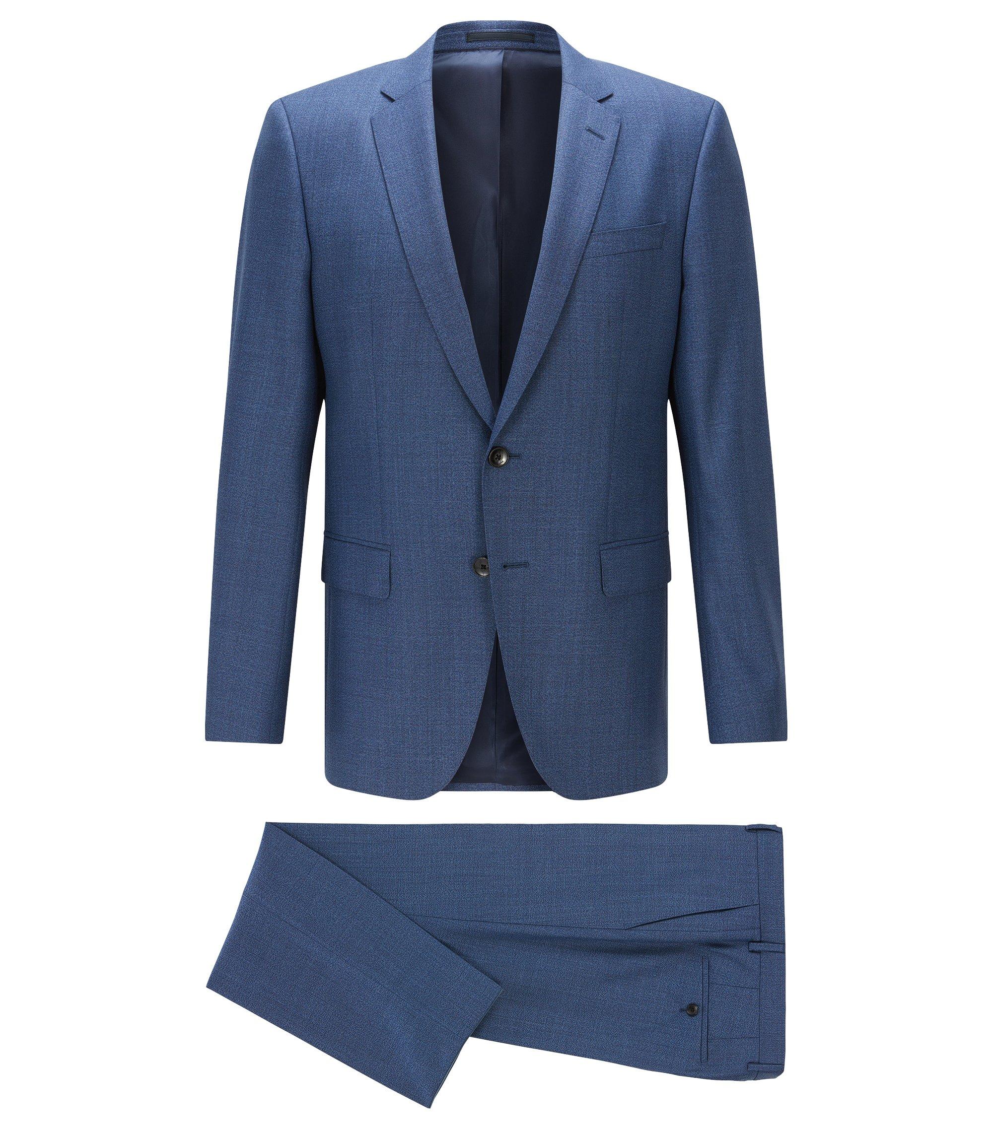 Slim-fit kostuum van geverfde scheerwolserge, Blauw